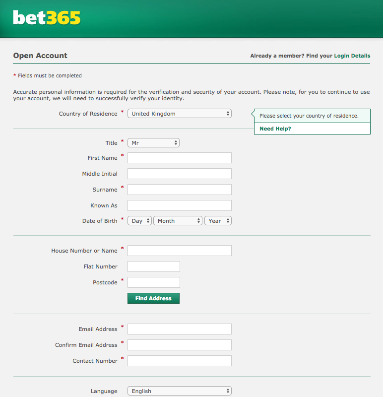 bet 365 processing form