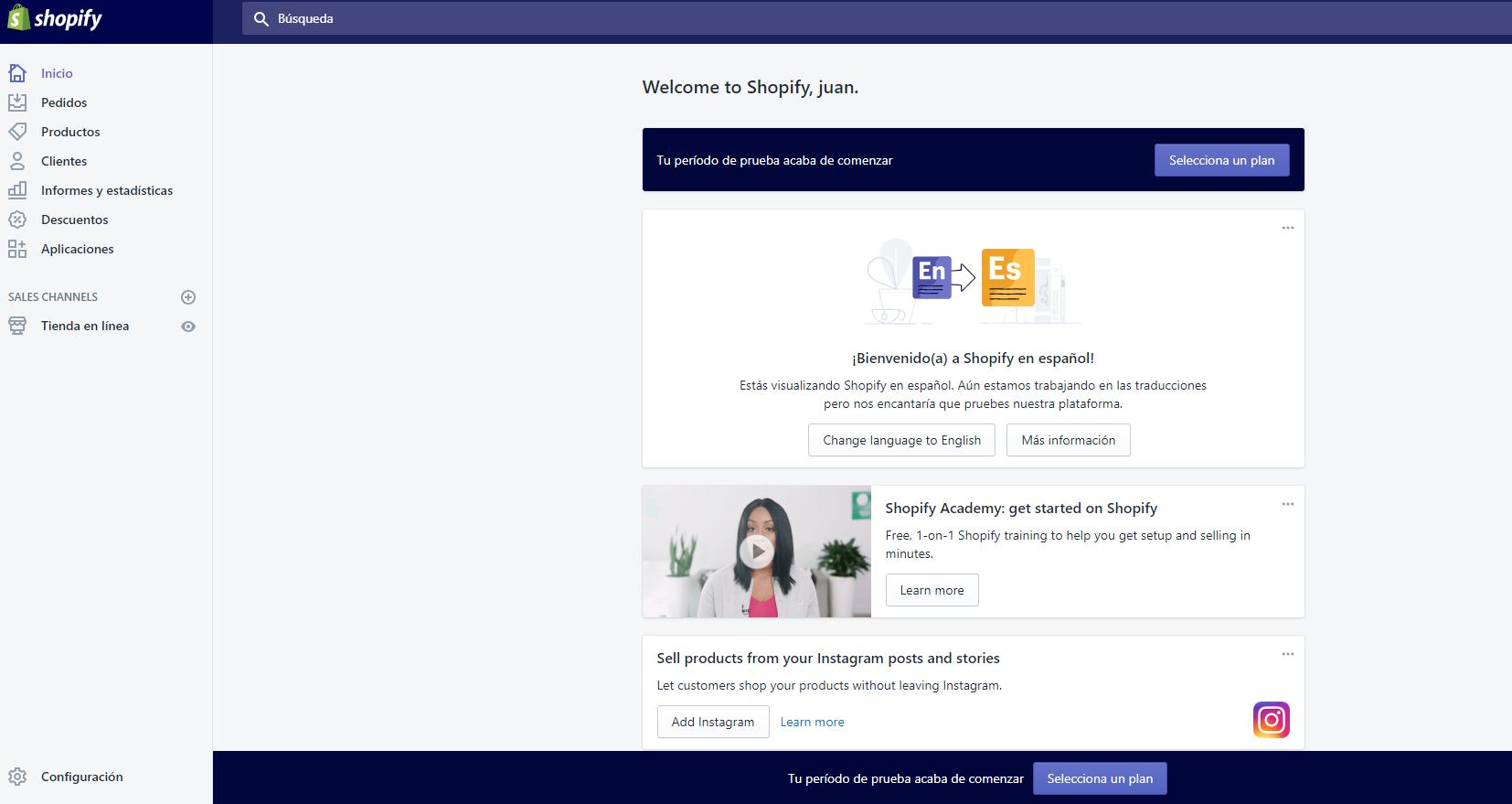 pantalla principal de shopify